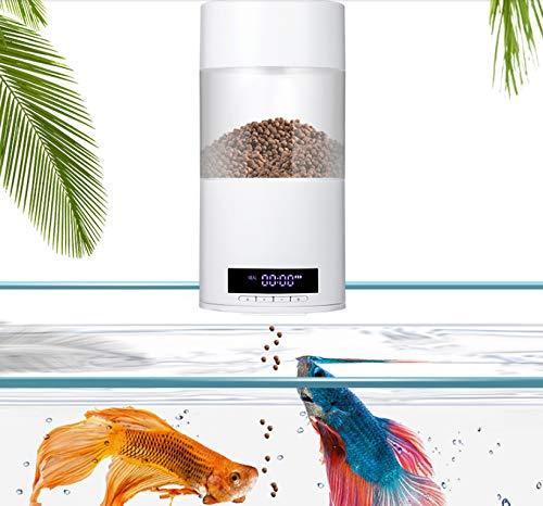 WTTTTW Smart Digital Fish Food Dispenser, automatischer Futterautomat für Fischtanks und Aquarien, programmierbare USB-Aufladung Auto-120v Usb