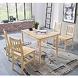 Pharao24 Esstisch mit Stühlen aus Kiefer Massivholz Landhausstil