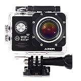 Aokon WiFi Action Cam Videocamera Subacquea Full HD 1080P Impermeabile Action Sport Camera 2.0 Pollici 4x Zoom 2 Batterie 170°Grandangolare e Kit Accessori per Ciclismo Nuoto e altri Sport Esterni (Nero)