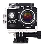 Aokon Sports Cam Action Camera WIFI Waterproof Camera 1080P 12M HD Helmet Motorcycle Video Underwater Cam - 170°Wide Angle Lens - 2.0 Screen - 4X Zoom - 2 Batteries & 18 Accessories Kit (Black) - Aokon - amazon.co.uk