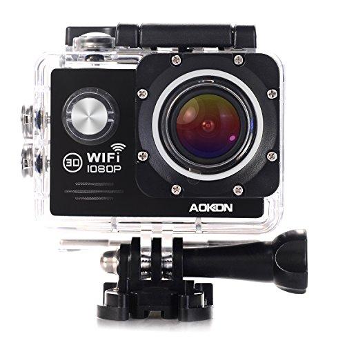 Aokon WIFI Wasserdichte Sports Action Kamera Full HD 1080P 12M Sportkamera Unterwasserkamera 2 Zoll 170°Weitwinkel-Objektiv DV Camcorder, 4x Zoom 2 Rechargeable Batteries und 18 Kostenlosen Zubehor Kits (Schwarz)