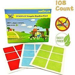 Innoplus 108Count Mosquito Repellent Patch, 100% natural, seguro para los bebés, niños, mascotas y adultos, mantiene lejos de mosquitos para Running Camping pesca jardinería senderismo