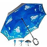 Umgedrehter Regenschirm mit blauem Himmel und C-Griff für freie Hände; Invert-Stockschirm mit 105cm Durchmesser