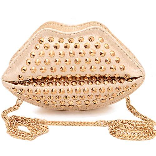 Sanwood da donna, con borchie a forma di labbra rivetto catena-Borsa a tracolla Beige