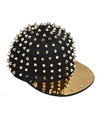 Zicac Hip-Hop Kappe Cap Mütze mit Nieten unisex neutral für Damen Herren Jungen Mädchen Hut Punk RAP R&B schwarz in silber und gold verfügbar