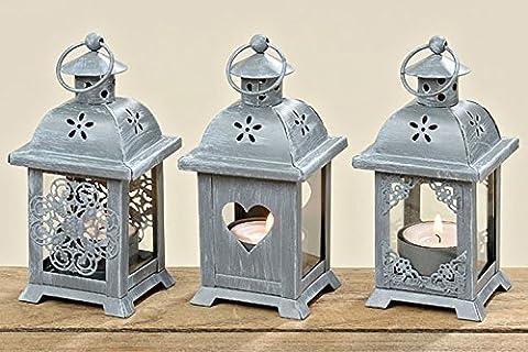 Laterne mit Herz 3er Set Windlicht Holz Gartendeko Shabby Kerze Teelicht (Herz Glas Teelicht)