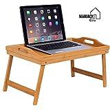 Mamjack Home - Plateau de lit pliable Plateau petit déjeuner Table de lit en bambou pour repas ou pour ordinateur avec 2 poignées, tablette pour le petit-déjeuner en bambou table canapé sofa, picnic