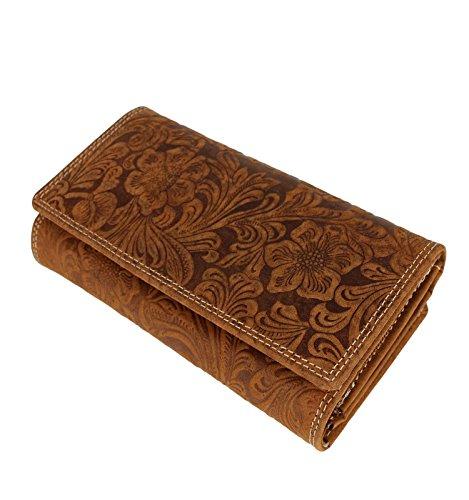 Damen XL Geldbörse aus Leder mit geprägtem Lianen Muster Blumen Paisley - Elegante Damenbörse Lederbörse Farbauswahl, Farbe:Tan (Klassische Hipster Brieftasche)