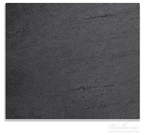 Wallario Herdabdeckplatte / Spitzschutz aus Glas, 1-teilig, 60x52cm, für Ceran- und Induktionsherde, Schwarze Schiefertafel Optik – Steintafel