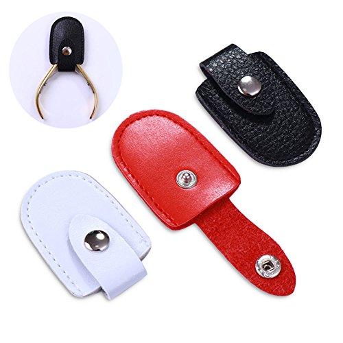 NICOLE DIARY 1 Stück Nagelhautschutz Tasche Sharp Kopf Werkzeuge Container mit Schnalle Clippers Nipper Schutzkappe Maniküre Nail art Werkzeug (rot)