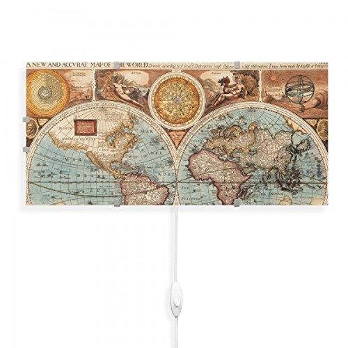 banjado - Wandlampe 56cmx26cm Design Wandleuchte Lampe LED mit Wechselscheibe und Motiv Historische Weltkarte, Wandlampe mit 2x 6W LED Leuchtmittel