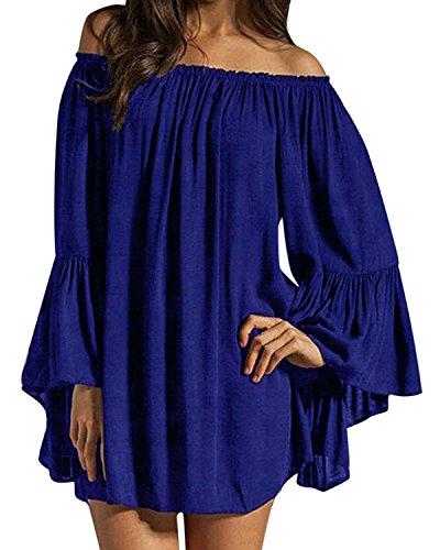ZANZEA Sexy Élégant Longue Tunique Épaule Nue Mousseline Femme Robe de Plage Plier Dress Cocktail Royal