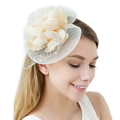 JaosWish Tulle Feather Fascinator Stirnband Netz Blume Hairclip -