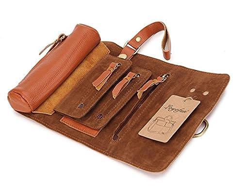 Loyofun Cuir véritable Trousse Printbox Style Pen Pouch carte support Wrap Porte-monnaie marron