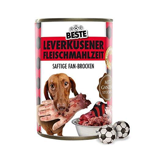 Preisvergleich Produktbild Hundefutter - Leverkusener Fleischmahlzeit - Gladbach-,  Köln- und alle Fußball-Fans aufgepasst. Witziges Geschenk für Freunde,  Kollegen,  Geburtstage und Partys zum Verschenken und Verfüttern - Futtermittel,  Futter,  Hundenahrung,  Alleinfuttermittel für ausgewachsene Hunde