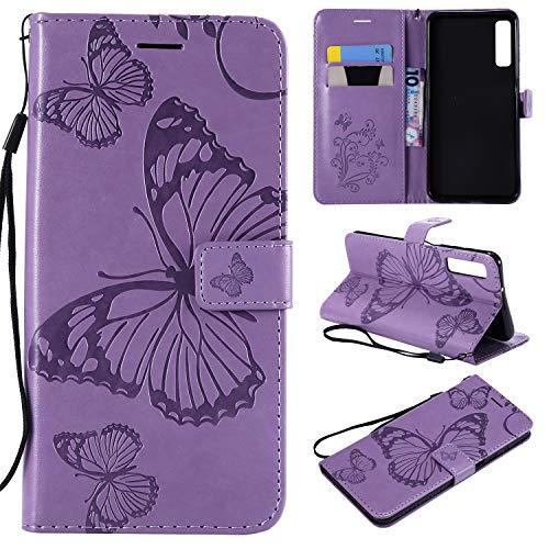 SMYTU Galaxy A7 2018 Hülle, Violett Wallet Case Cover Schutzhülle und Klapp Magnetisch Flip Bumper Ledertasche Schutzhülle für Samsung Galaxy A7 2018(B-Violett)