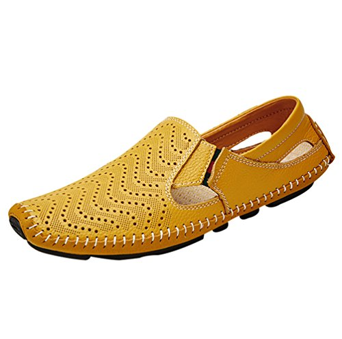 YiLianDa Herren Mokassin Slippers Leder Loafers Fahren Halbschuhe Gelb