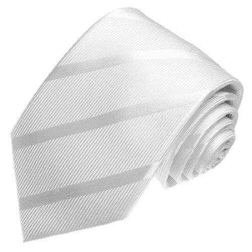 Lorenzo Cana Seidenkrawatte Marken Krawatte 100% Seide - Weiss Ton in Ton gestreift Hochzeit Hochzeitskrawatte - 77135 (Ton-urne)