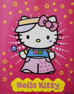 Bild - Hello Kitty Raver ca 40x50 cm Bild laminiert - mit Folie überzogen