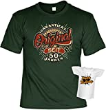 Zum 50. Geburtstag T-Shirt Herren Männer dunkelgrün Größen S- 5XL Lustiges Funshirt Garantiert Original seit 50 Jahren