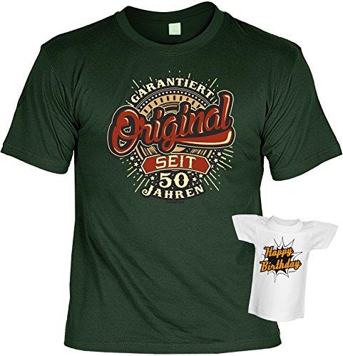 Geburtstagsgeschenk T-Shirt Original seit 50 Jahren Geschenk zum 50. Geburtstag 50 Jahre Geschenkidee zum 50 Geburtstag Set mit Minishirt Dunkelgrün