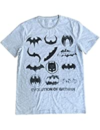 BATMAN - EVOLUTION OF BATMAN LOGO (B & W) DISTRESSED - OFFICIAL MENS T SHIRT