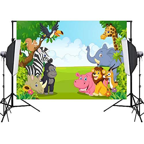 EdCott 7x5ft Dschungel Safari Hintergrund Wald Tier Themen Hintergrund Geburtstag Foto Kulissen für Party Kinder Geburtstag Baby Dusche Fotografie Vinyl Hintergrund Wohnkultur Dekoration Schießen