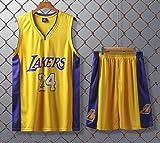 JX-PEP Divise da Basket Lakers # 24 Kobe Bryant Retro Camicia di Pallacanestro Estate Maglie Fan Uniformi Vest Maniche Sportivo Traspirante Sport,Giallo,L
