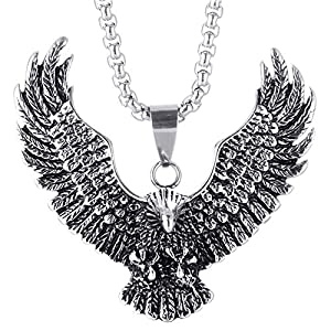 AmDxD Titan Stahl Herren Halskette Punk Adler Form Design Herrenkette Edelstahlanhänger