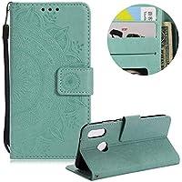 Minze Grün Brieftasche für Huawei P10 Lite,Gurt Leder Handyhülle für Huawei P10 Lite,Moiky Ziemlich Jahrgang Mandala Blume Geprägt Klappbar Stoßdämpfende Stand Handytasche