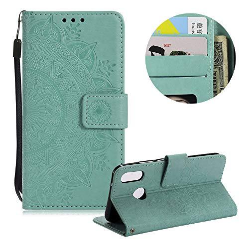 Minze Grün Brieftasche für Huawei P20,Gurt Leder Handyhülle für Huawei P20,Moiky Ziemlich Jahrgang Mandala Blume Geprägt Klappbar Stoßdämpfende Stand Handytasche