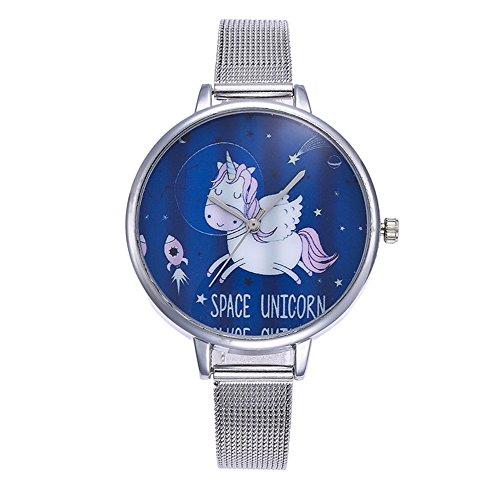Souarts Damen Armbanduhr Einfach Mesh Metallarmband Flamingo Ananas Einhorn Regenbogen Casual Analoge Quarz Uhr Silber Farbe Einhorn Mädchen Uhr (Siber 1)