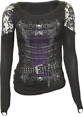 Spiral - Women - WAISTED CORSET - Shoulder Lace Top Black - Small