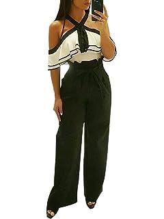 Minetom Femme Casual Taille Haute Solide Jambe Large Bas Évasé Pantalon  Élégante Baggy Jupe-Culotte 7e569017672
