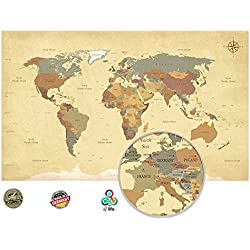 Viejo Mundo Mapa en Vintage Look XXL – cuadro en HD Póster retro Decoración de pared Worldmap imagen utilizable como tablón | Lienzo Mapa Antiguo pared de | (140 x 85 cm)