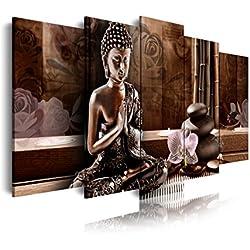 Dekoarte 424 - Cuadro moderno en lienzo de 5 piezas, estilo zen-feng shui buda zen, 150x80cm