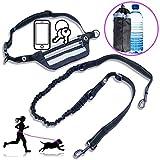 FiFi jogging hundeleine mit wasser flasche laufgürtel wasserabweisend elastisch reflektierend bungee seil schwarz silber grau für taille MK1 - lauf mit deinem hund freihändig