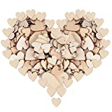 300x 10mm + 20mm + 30mm + 40mm Heart Wood Natural Wood Discs for DIY Crafts Decorations Wedding Table Decoration