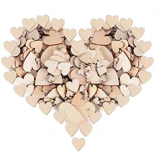 300 Stück Holzherzen Scheiben Naturholzscheiben unlackiert für DIY Handwerk Verzierungen(Vier Größe:1cm 2cm 3cm 4cm