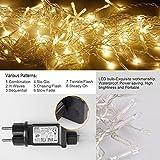 Quntis 4 m × 0,6 m 144 LED Lichterkette Lichtervorhang Warmweiß, Wasserfeste Fenster Lichterkette, Beleuchtung für Weihnachten, Party, Outdoor, Hochzeit, Dekoration usw. Test