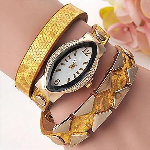 WW Ovale di donne moda in pelle diamante dial orologio al quarzo , 2- yellow