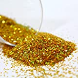 Gold Double Sided Craft Glitter 0.40hex Large Flakes 400g Tub by BCreative ®