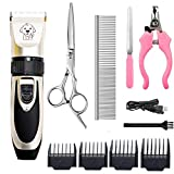HFAN Pet Clippers, Professional Cordless Low Noise Rechargeable Grooming Trimmer Hair Electric Shaver