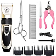 HFAN Pet Clippers, Professional Cordless Low Noise Rechargeable Grooming Trimmer Hair Electric Shaver Kit with 4 Comb Guides scissors for Dogs, Cats and Other Animals