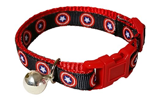 Spoilt Rotten Pets Designer Cat Collar With Bell & Safety Buckle (Captain America)