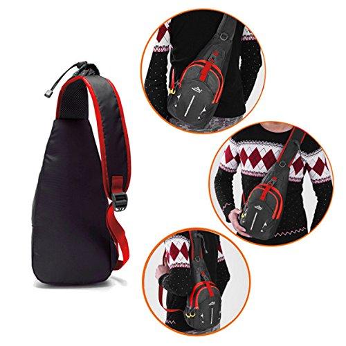Hongxing leggero petto Sling spalla zaini borse moda carino Crossbody triangolo zaino per escursionismo, ciclismo, viaggi o multiuso Daypacks, Green Black