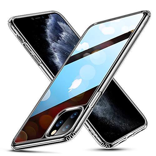 ESR Cover per iPhone 11 PRO Max, Protezione Posteriore in Vetro temperato 9H con Cornice in TPU, Custodia per Assorbimento Urti con Bumper Morbido Resistente ai Graffi per iPhone 6.5 2019,Trasparente