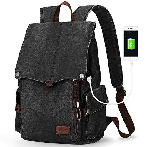 Muzee Canvas Rucksack, Leichter Anti-Diebstahl-Reise-Rucksack mit USB Ladeport Fit 15.6 Zoll Laptop für Damen Herren Teenager Arbeit Schule Vintage Schulrucksack Canvas Rucksack