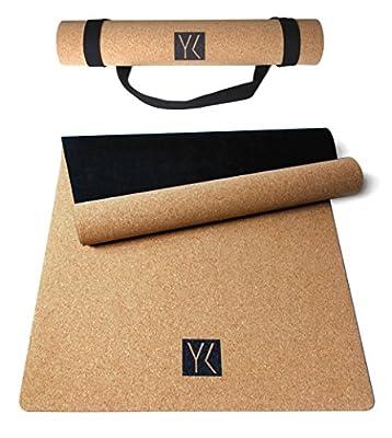 YOGAKLAR Premium Yogamatte aus Naturkautschuk und Kork, rutschfest, hautfreundlich, pflegeleicht, 100% natürlich und umweltfreundlich, inklusive Tragegurt aus Baumwolle