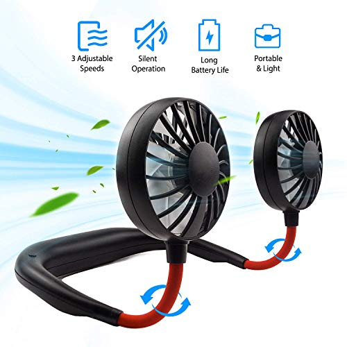 ENEM Portable USB Rechargeable Wearable Handsfree Neck Band Fan, 3 Speeds, 360 degree Adjustment - Kitchen, Gym, Running, Walking, Home, Office, Travel, Camping, Reading, Leisure- Black